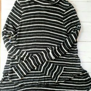 Free people large knit striped cowl neck top